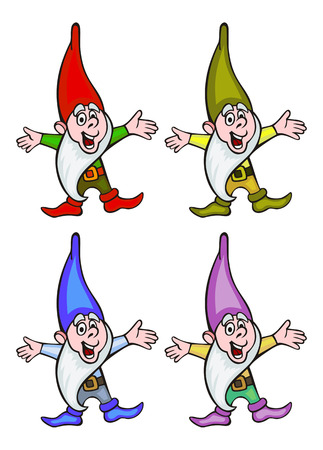 Cute gnomes in colorful caps. Funny characters for decorations, greetings cards and other design artworks. Vector clip art.