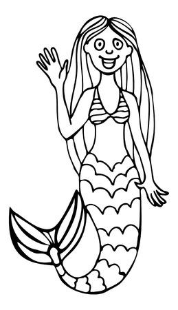 Cartoon pretty mermaid. Contour image. Vector clip art.