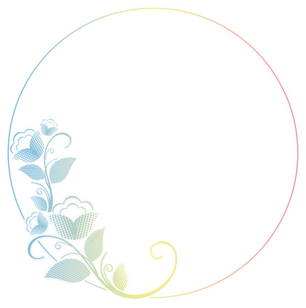 raster: Beautiful round frame with gradient filled. Color elegant flower frame for advertisements, flyer, web, wedding and other invitations or greeting cards. Raster clip art. Stock Photo