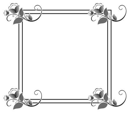 벡터 그림 프레임입니다. 흑백 꽃과 사각형 실루엣 배경 사각형. 레이저 조각에 대 한 장식입니다. 공간을 복사합니다.