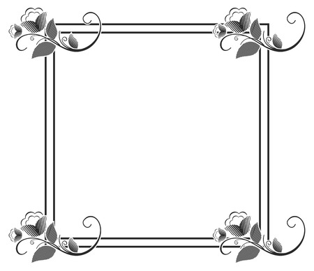 Vector picture frame. Black and white silhouette square background with floral ornament. Ornament for laser engraving.Copy space. Illusztráció