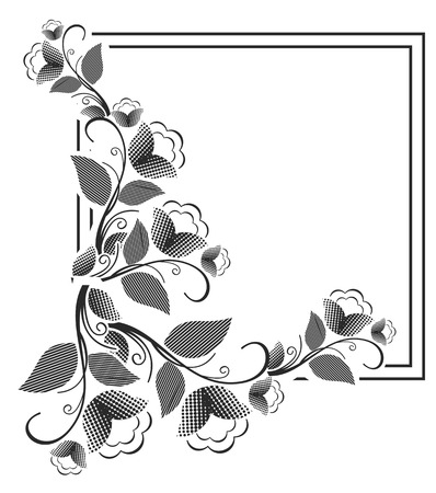 Vector picture frame. Black and white silhouette square background with floral ornament. Ornament for laser engraving.Copy space. Illustration
