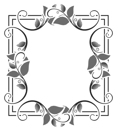 stamping: Vector picture frame. Black and white silhouette square background with floral ornament. Ornament for laser engraving.Copy space. Illustration