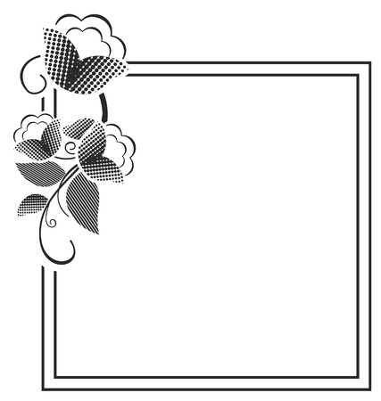 stamping: Picture frame vector, black and white silhouette square background with floral ornament with Ornament for laser engraving