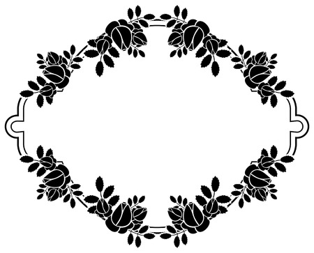stamping: Black and white silhouette floral frame. Ornament for laser engraving. Vector clip art. Illustration