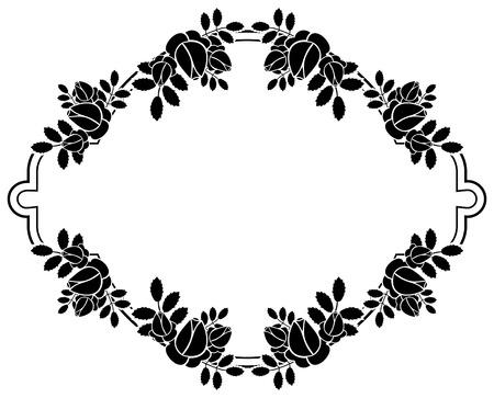 embossing: Black and white silhouette floral frame. Ornament for laser engraving. Vector clip art. Illustration