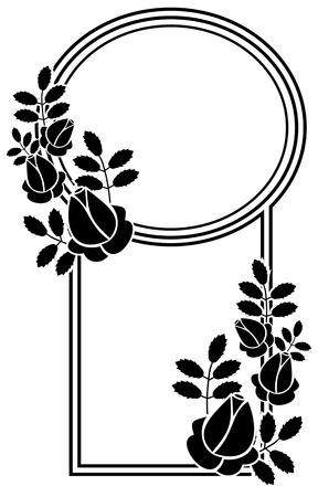 Black and white silhouette floral frame. Ornament for laser engraving. Vector clip art. Illustration