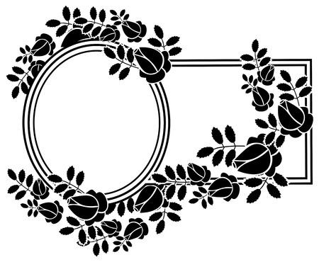 Black and white silhouette floral frame. Ornament for laser engraving. Vector clip art. Illustration