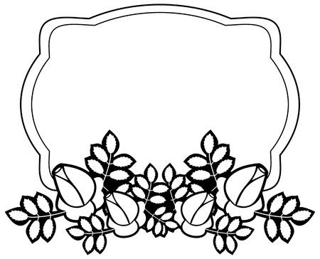Black and white silhouette floral square frame. Ornament for laser engraving. Vector clip art. Illustration