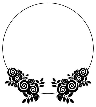 Elegant silhouette frame with decorative roses. Copy space. Vector clip art. Reklamní fotografie - 80156499