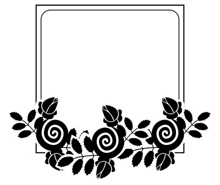 bookish: Elegant silhouette frame with decorative roses. Copy space. Vector clip art. Illustration