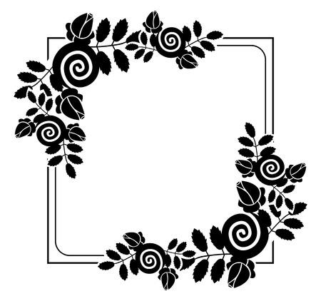 Elegant silhouette frame with decorative roses. Copy space. Vector clip art. Ilustração
