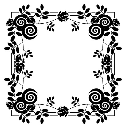 Elegant silhouette frame with decorative roses. Copy space. Vector clip art. Illustration