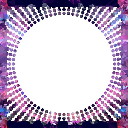 mosaic: Round mosaic frame with halftone dots for text, photos and pictures. Vector clip art.