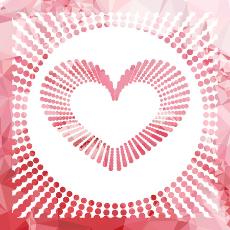 Heart mosaic background. Valentine ornament. Vector clip art.