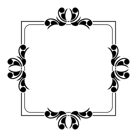 embossing: Black and white silhouette frame with decorative flowers. Vector clip art.