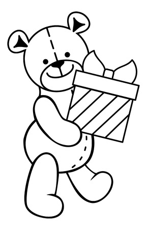 Teddy Bear Toy With T Box Vector Clip Art Royalty Free Cliparts