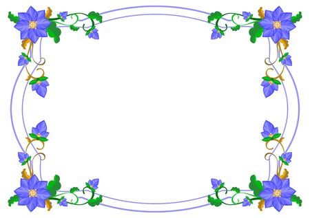 Decorative frame with abstract blue flowers. Vector clip art.  イラスト・ベクター素材
