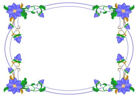 Decoratief frame met abstracte blauwe bloemen. Vector illustraties.