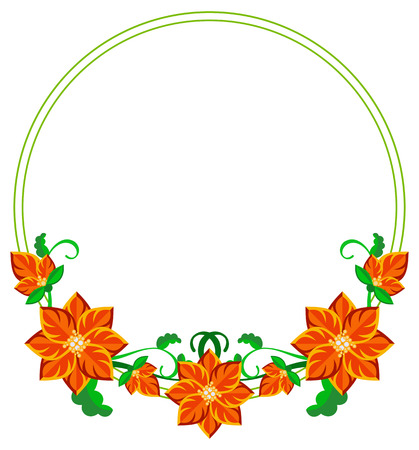Round decorative frame with abstract red flowers. Vector clip art.