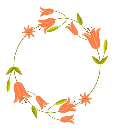 Round decorative frame with abstract orange flowers. Vector clip art.