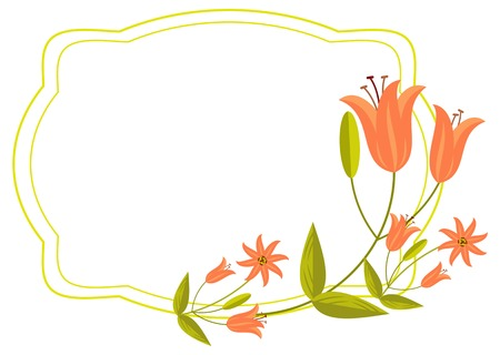 Elegant wedding frame with orange lilies. Vector clip art. Illustration