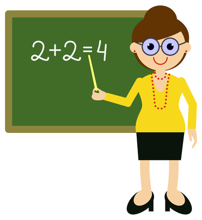 Teacher near blackboard. Vector clip art.
