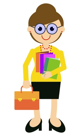 Insegnante con una valigetta e libri. ClipArt vettoriali. Archivio Fotografico - 81236696