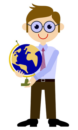 School teacher with globe. Vector clip art.