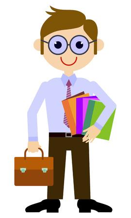 Teacher with a briefcase and books. Vector clip art.