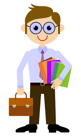 Teacher with a briefcase and books. Vector clip art.