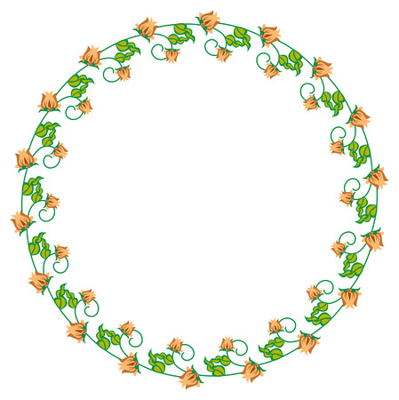Round decorative frame with abstract flowers. Vector clip art.
