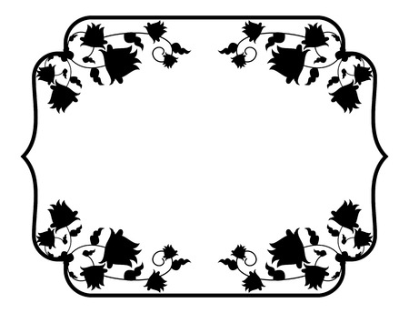 Black and white silhouette floral frame. Vector clip art Illustration