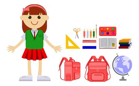 Schoolgirl in the uniform and school tools. Vector clip art.