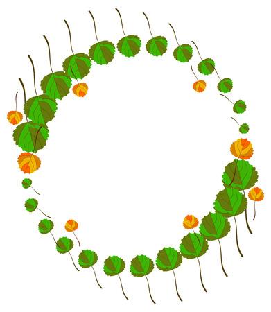 aspen leaf: Round frame with fallen leaves. Vector clip art.