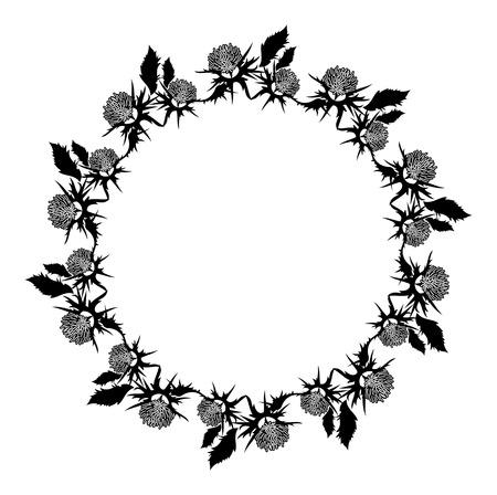 Cornice rotonda con foglie di abete. clip vettoriale clip Archivio Fotografico - 81916940