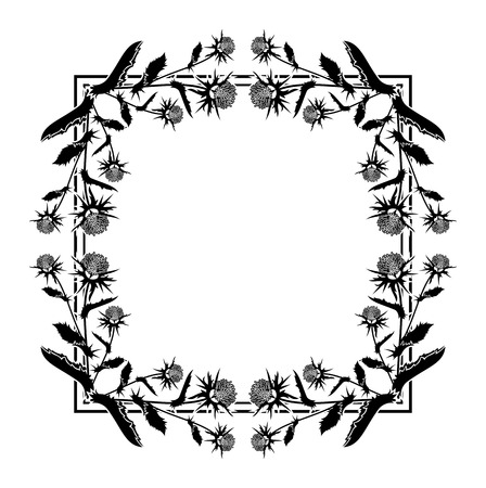 Square frame with thistle silhouette. Vector clip art. Ilustração
