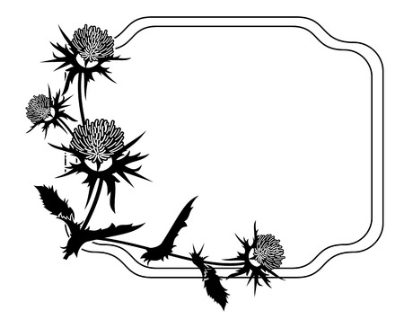 Decorative frame with thistle silhouette. Vector clip art.