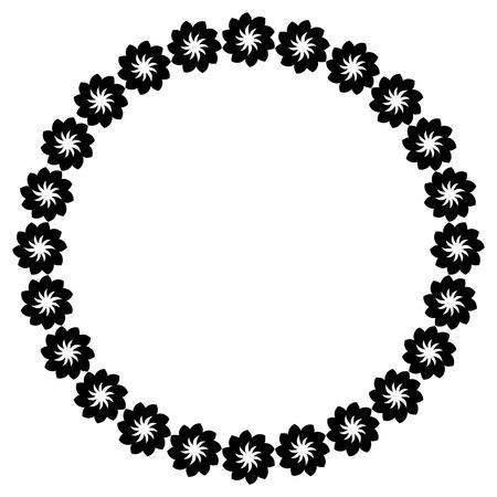 Zwart en wit silhouetframe met decoratieve bloemen. Vector illustraties.