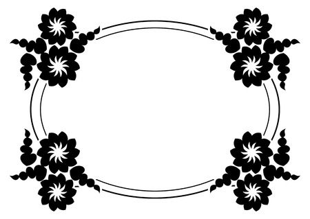 Black And White Silhouette Frame With Decorative Flowers Vector