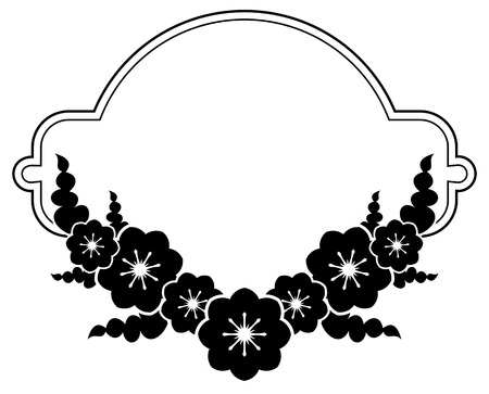 Black and white silhouette round frame with decorative flowers. Vector clip art. Illusztráció