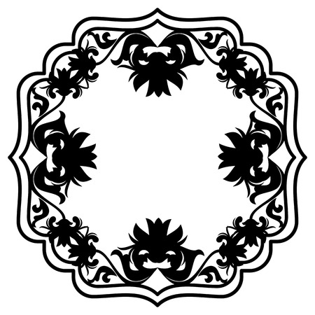 baroque: Black and white silhouette floral frame. Raster clip art