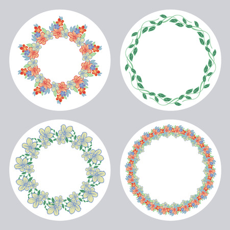 Set of round frame with flowers. Design element for banners, labels, prints, posters, web, presentation, invitations, weddings, greeting cards, albums.  Vector clip art.