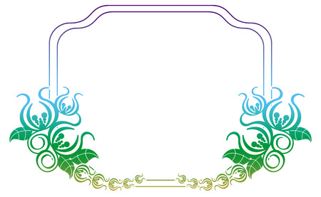 Beautiful flower frame with gradient filled. Color elegant flower frame for advertisements, flyer, web, wedding and other invitations or greeting cards. Raster clip art. Stock Photo