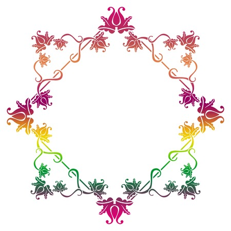 Gradient square frame with flowers. Copy space. Design element for your artwork. Raster clip art. Stock Photo