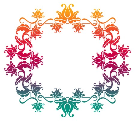 mixed marriage: Gradient square frame with flowers. Copy space. Design element for your artwork. Raster clip art. Stock Photo