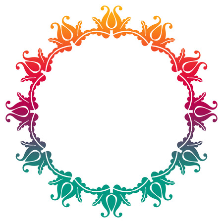 Gradient round frame with flowers. Copy space. Design element for your artwork. Raster clip art.