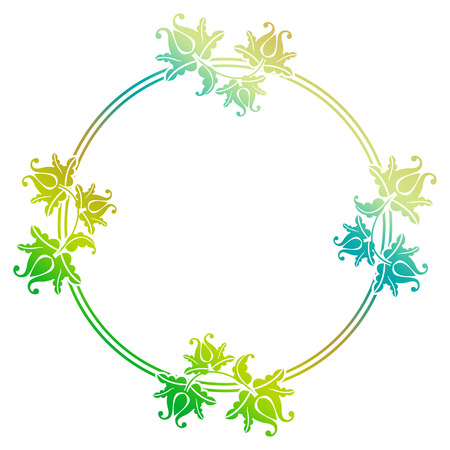 mixed marriage: Gradient round frame with flowers. Copy space. Design element for your artwork. Raster clip art.