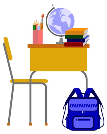 School desk in the classroom. Vector clip art.