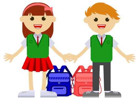 Happy children going back to school after summer holiday. Vector clip art.